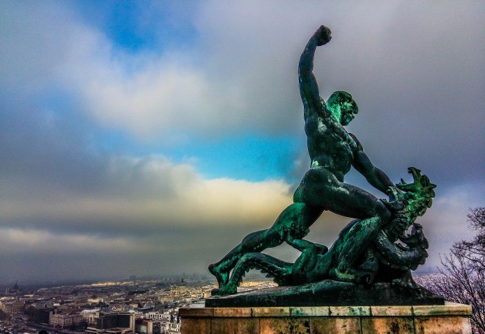 Budapest monument of man slaying a snake!